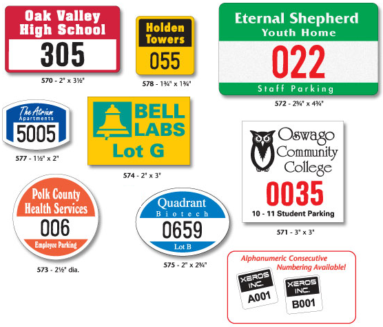 Parking Permit Decals for windows, mirror, and bumpers