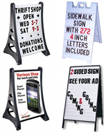 A Frame Signs - Changeable letter, Dry Erase, and custom plastic a-frame signs.