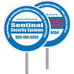 Circle Security Yard Signs, One or Two Color