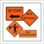 Road Construction Signs - Standard road work and men working signs including detour and directional detour signs.