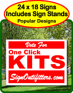 Yard signs with stakes included.