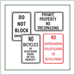 Parking Lot Signs and Property Management Signs - Signage for use in strip malls, retail centers, apartment complexes, and all types of parking centers.  Premade with the most popular messages.