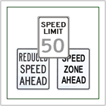 Speed Limit Signs - Speed signs including reduce speed ahead, speed zone ahead and custom speed limit signs.