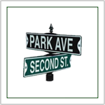 Street Signs - For Municipal and Private use.  Available in embossed steel, extruded, and flat Aluminum versions.  Personalized Street Signs.  These are the same signs your local Road Commision uses.