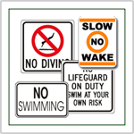 Swimming Pool Signs - No Diving, No Swimming, or Lifeguard on Duty signs in stock for fast nationwide shipment.