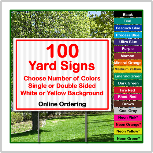 24x18 yard sign corrugated plastic 100 signs