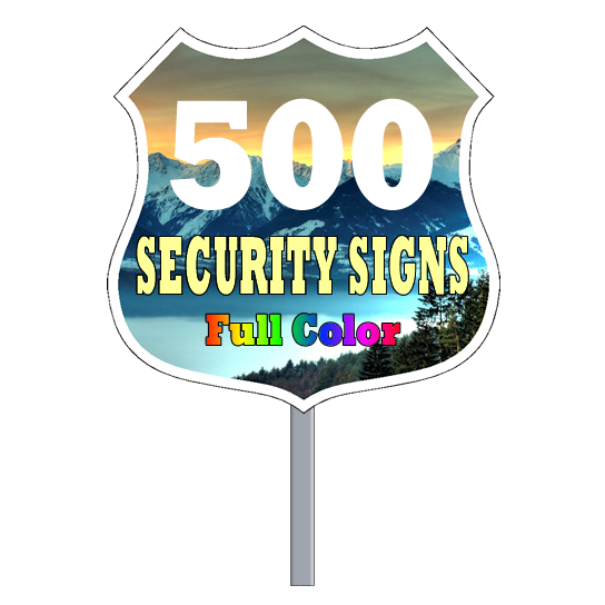 Security Yard Signs Badge Shape Full Color 500 Per Box