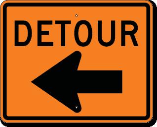 Detour Sign With Left Arrow 30 X 24