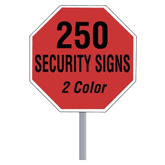 Security Yard Signs Octagon Shape 2 Color 250 Per Box