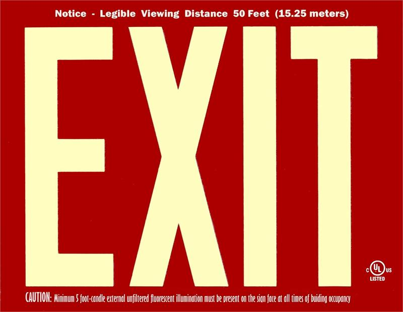 Photoluminescent Exit Signs 50 Foot Ul 924 Red