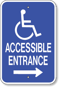 Accessible Entrance With Right Arrow and Handicap Symbol