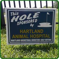 Custom Golf Hole Sponsor Sign Kit features your custom sponsors and stakes