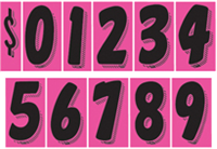 7 1/2 Inch Tall Hot Pink Starter Kit - Windshield Numbering Kit