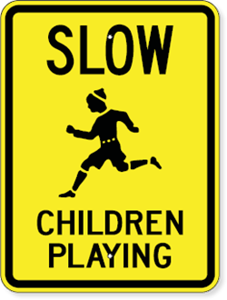 Slow Children Playing Sign with Child Running Symbol