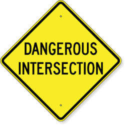 Dangerous Intersection Sign 24 x 24