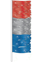 Red, Silver, and Blue Antenna Pennants - Metallic Fringe