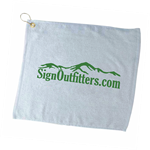 Custom printed Golf Towels make great golf outing gifts or prizes.