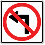 No Right Turn Symbol Sign 24 x 24