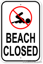 No Swimming Beach Closed - 12x18 Marine Sign