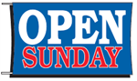 Open Sunday Banner - 3 x 5 Slogan