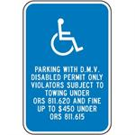 Oregon Handicap Sign