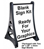 Ultimate Quick-Load ''A'' Frame Sidewalk / Curb Sign Kit - Ready for your graphics