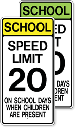 School Speed Limit 20 On School Days When Children Are Present