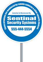 Security Yard Signs - Circle Shape - Stake Included