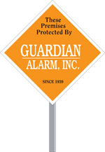 Security Yard Signs - Diamond Shape - 2 Color - Stake Included