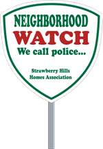 Security Yard Signs - Shield Shape - 2 Color - Stake Included