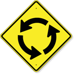 Circular Intersection (Traffic Circle Symbol) Sign 24 x 24
