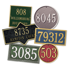 Personalized Address Plaques are handcrafted in Michigan.  Whitehall address plaques discount pricing. Cast aluminum address plaques.