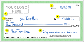 Diagram of the customized form for Giant Checks