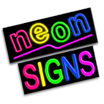Real Neon Signs - Classic glow window promotion.  Bright neon glowing signs.