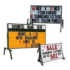 Portable Roadside Signs - Lighted message boards on stands or trailers some with flashing arrows.