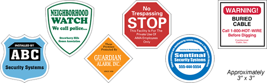Security Decals and Security Stickers, Choose from Octagon Shape, Diamond Shape, Circle Shape, Badge Shape, Shield Shape