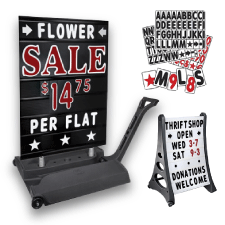 Sidewalk Signs, Swinger Signs, Springer Signs, A Frame Signs, Tip N Roll Signs and Portable Sidewalk Signs.  Magic Master Products