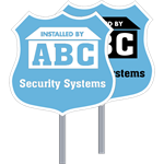 Badge Security Yard Signs, One or Two Color