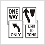 Directional Traffic Signs - Roadway marking signs.  Indicators for one way, right turn and left turns, weight limits, and do not enter signs.