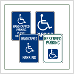 Handicap Parking Signs - Many popular styles including state specific handicapped parking signs for Californina, Pennsylvannia, New Jersey and others.  Disabled Parking Signs for all applications.
