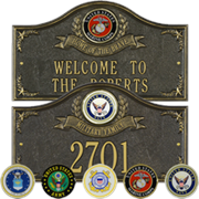 Selection of personalized Military Plaques.  Cast Aluminum with your choice of branch.