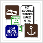Marine Signs for private and municipal use.  No Wake Signs, Slow No Wake, Slip Parking Signs made from rust free aluminum.