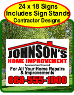 Contractor Designs for Yard Signs. Stakes included.