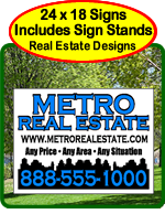 Real Estate Yard Signs with Free Sign Stands
