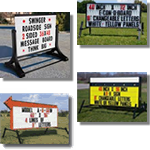 Outdoor portable signs available on stands or on trailers. Some of our portable signs are even UPS shippable.