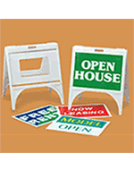 Portable a-frame sign. Available blank, pre-designed or as a custom sign. Call us with you custom needs.