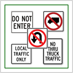 Regulatory traffic signs and parking lot signs