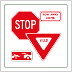 Stop Signs and Yield Signs - Available from stock in four sizes.  2-Way, 3-Way, and 4-Way placards ready for nationwide shipment.