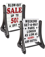 Swinger Sidewalk Signs with custom graphics, changeable messages, or markers.
