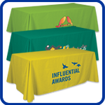Table Throws, Table Covers, Table Skirts to show off your organizations name at events.